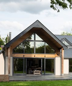 Rear exterior of timber framed house. Building your own home and the cost of building a house. Building a house ideas. Helen Burgess & Tom McPhail self-build project with Potton . Timber Frame Homes, Timber House, Timber Frames, Build Your Own House, Building Your Own Home, A Frame House, House Extensions, Modern House Design, Contemporary House Designs
