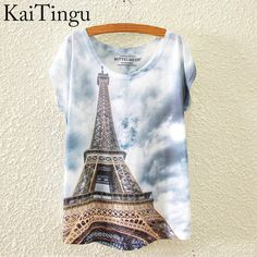 KaiTingu 2016 Brand New Fashion Spring Summer Harajuku Short Sleeve T Shirt Women Tops Eiffel Tower Printed T shirt White Cloth-in T-Shirts from Women's Clothing & Accessories on Aliexpress.com | Alibaba Group