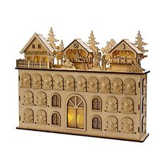 Kurt Adler LED Wooden Advent Calendar, 13-Inch - http://www.christmasshack.com/advent-calendars/kurt-adler-led-wooden-advent-calendar-13-inch/