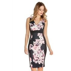 Quiz Black And Pink Flower Print V Neck Panel Dress- | Debenhams
