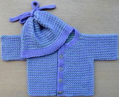 Baby Pebble Jacket and Hat - Lilac- Hand Knitting Kit