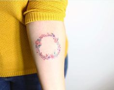 nice Women Tattoo - Floral wreath by Fatih Odabas... Check more at http://tattooviral.com/women-tattoos/women-tattoo-floral-wreath-by-fatih-odabas/