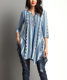 Love this Blue Boteh Notch-Neck Pin-Tuck Handkerchief Tunic by Reborn Collection on #zulily! #zulilyfinds