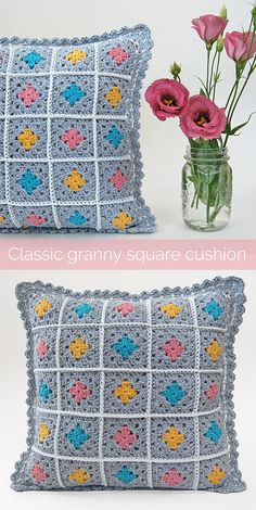 crochet pillow, classic granny square, crochet cushion, easy crochet pattern, crochet for beginners