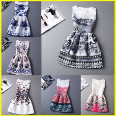 2015 vestidos del estilo del verano para la muchacha impreso Floral sin mangas formales de la muchacha adolescentes del partido del vestido barato envío gratis