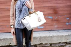 Casual Winter Style: Clare V. Sandrine, Leather Leggings, Nike Sneakers