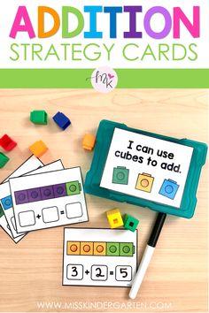Addition Task Cards using Math Strategies - Miss Kindergarten 1st Grade Activities, Addition Activities, Kindergarten Math Activities, Math Addition, 1st Grade Math, Homeschool Math, Fun Math, Centers First Grade, Kindergarten Special Education