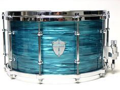 Truth Custom Drums » Twisted Teal Pearl colored snare drum for a champagne sparkle set or for a marine pearl white set.