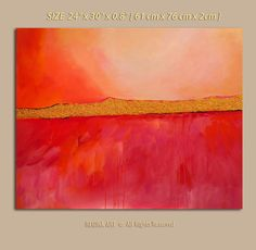 Abstract Painting Original  Abstract Painting Coral Red Fine Art by ReginaArt