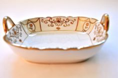 gold candy dishes | antique hand painted nippon candy dish gold handles