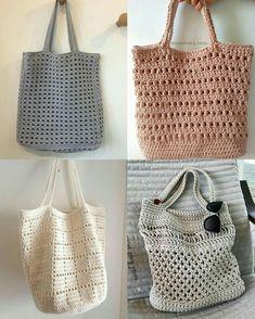 Best 11 Crochet Boho Bag Pattern Collection – Ideas You'll Adore – SkillOfKing. Crochet Market Bag, Crochet Tote, Crochet Handbags, Crochet Crafts, Crochet Yarn, Free Crochet, Crochet Shell Stitch, Tote Bags Handmade, Christmas Crochet Patterns