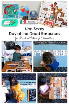 You'll find many helpful, non-scary Day of the Dead resources here for preschoolers through elementary-age kids; perfect for home or classroom - Living Montessori Now Grammar Activities, Counting Activities, Winter Activities, Celebration Around The World, Montessori Classroom, Holidays Around The World, Teacher Education, Activity Days, Homeschool Curriculum