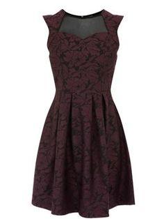 Warehouse Bonded lace full dress Plum - House of Fraser