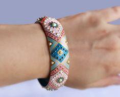 Blue pink Hand painted bracelet Pastel bracelet Havy blue bracelet Dusty pink Woode Geometric Point to point Handpainted jewelry Bangle