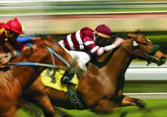 close-up of jockeys racing thoroughbreds. shot at slow shutter speed to enhance motion effect. Slow Shutter Speed, Motion Blur, Sports Betting, Thoroughbred, Horse Racing, Birds In Flight, Photo Library, Horses, Stock Photos