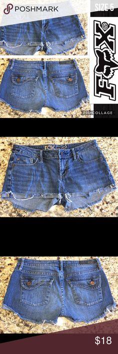 "Fox Jean Shorts Size 5 Approximate Measurements: Waist - 33"", Inseam - 2"". Cotton - 99%, Spandex 1%. Fox Shorts Jean Shorts"
