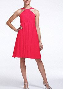 Classic silhouette with a modern twist, this bridesmaid dress is ultimately flattering for any affair! Sleeveless crinkle chiffon bodice features ultra-feminine y-neckline. Pleated waist band helps define the silhouette. Fully lined. Back zip. Imported polyester. Dry clean. To protect your dress, try our Non Woven Garment Bag.A lightweight, gently-textured sheer fabric with a fluid movement