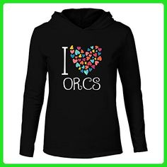 Idakoos - I love Orcs colorful hearts - Fantasy and Monsters - Hooded Long Sleeve T-Shirt - Fantasy sci fi shirts (*Amazon Partner-Link)