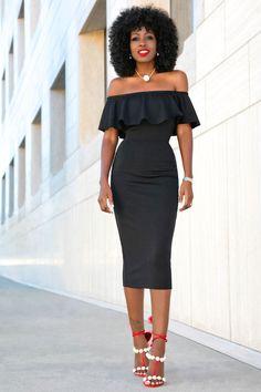Black Off Shoulder Frill Midi Dress