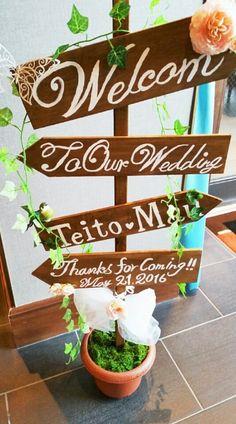 ウェディングサイン♡作り方 | Day by day!! Wedding Entrance, Entrance Decor, Diy Wedding, Rustic Wedding, Pinterest Garden, Planter Pots, Wedding Decorations, Day, Outdoor