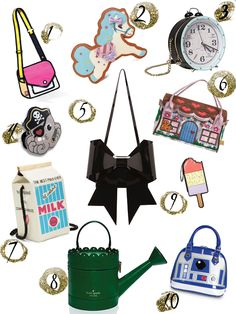 These novelty purses are adorable! I love the #KateSpade purse and the #BetsyJohnson one.