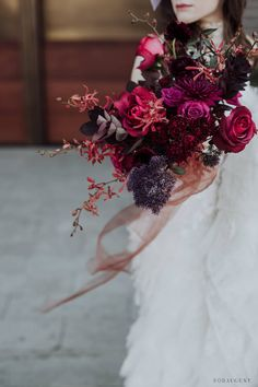 Jewel toned bouquet by Color Theory Collective - Color theory - Bridal Bouquet Fall, Winter Bouquet, Bridal Flowers, Flower Bouquet Wedding, Floral Wedding, Wedding Colors, Bride Bouquets, Floral Bouquets, Dream Wedding