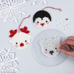 These three polar animals are made from Nabbi Fuse beads. All beads are placed on a peg board and melted together with an iron under a piece of baking paper. Hama Beads Design, Diy Perler Beads, Perler Bead Art, Hama Beads Coasters, Pearler Bead Patterns, Perler Patterns, Loom Patterns, Art Patterns, Quilt Patterns