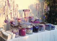 Purple Candy Buffet for 150 guests (in the blazing sun). London West Hollywood Hotel.  Jorden Collins Candy Buffets 949-231-2098