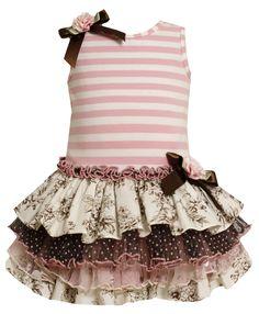 Bonnie Jean 2T-6X de punto a rayas con múltiples niveles Mix-Print vestido de cintura caída: Ropa de niños pequeños