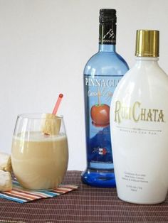 Caramel Apple Pie Cocktail: 1 cup Apple Cider, 1 oz Pinnacle Caramel Apple Vodka, 1 oz RumChata, Ice.