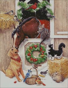 Kathy Goff Xmas - Christmas at the stable Christmas Horses, Old Christmas, Christmas Scenes, Christmas Animals, Vintage Christmas Cards, Christmas Pictures, Beautiful Christmas, Vintage Cards, Illustration Noel