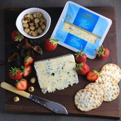 Blue Cheese Board with Strawberries and Hazelnuts