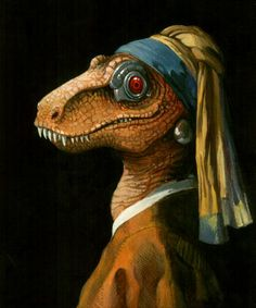 Cyborg raptor with a pearl earring. One of Vermeer's greatest works, IMHO.