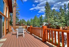 Big Bear Cabin #39 Gold Rush Resort 4Bed/3 Bath Great for Families! To Book call (310) 800-5454 or click the image! #BigBear #vacation #5starvacation #deck #blue #view