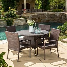 5 Piece Outdoor Patio Dining Set - Weather Resistant Resin Wicker Metal Frame Furniture - Oval Metal Table - Chairs with Arm Rest Clearance - Seats for 4 - Brown Finish - FREE REPLACEMENT GUARANTEE! SERVING YOUR SUCCESS http://www.amazon.com/dp/B013TMIBZQ