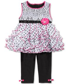 Nannette Little Girls' 2-Piece Printed Ruffle Tunic & Leggings Set