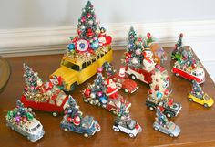 Vintage metal toy cars seen hauling trees from the farm. So adorable! Vintage metal toy cars seen hauling trees from the farm. So adorable! Vintage Christmas Crafts, Retro Christmas Decorations, Vintage Ornaments, Vintage Holiday, Christmas Projects, Holiday Crafts, Holiday Decorating, Christmas Ideas, Vintage Santas
