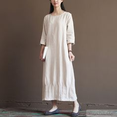 Nude linen spring dress 2016 new linen maxi dresses plus size linen clothing