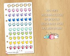 60 Mini Watercolor Stickers for Housework (Laundry), Perfect for Filofax Personal and Kikki.k Medium Watercolor Stickers, Filofax, Laundry, Rainbow, Medium, Mini, Unique Jewelry, Handmade Gifts, Etsy