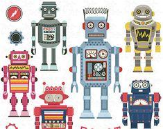 Robots Clipart pack « ROBOT clipart », Robot Vintage, mignon Robots, Robots, Robot Funny parfait pour scrapbooking, invitations, carte de soirée Rb001