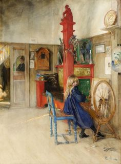 Carl Larsson Swedish Arts and Crafts Artist inspired. His many paintings include oils, watercolors, and frescoes. He considered his finest work to be. Girl Working at a Spinning Wheel. Carl Larsson, Carl Spitzweg, Scandinavian Art, Scandinavian Paintings, Arts And Crafts Movement, Museum Of Fine Arts, Stockholm, Painting & Drawing, Art For Kids