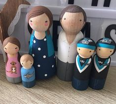 CUSTOM PEG FAMILIES These personalised family peg dolls make beautiful gifts for children, can be used as cake toppers or party decor or simply have a special place in your home as a gorgeous unique alternative to the traditional family portrait. THIS LISTING INCLUDES - SIX fully
