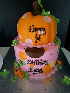 Lil Pumpkin Birthday Cake but not in pink :) Pumpkin Birthday Cakes, Fall Birthday Cakes, Pumpkin Patch Birthday, Pumpkin Patch Party, Pumpkin Birthday Parties, Pumpkin First Birthday, Farm Birthday, First Birthday Parties, Birthday Ideas