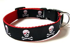 Pirate Dog Collar Red Black Skull Dog Collar 1 by Dogologie, $18.00