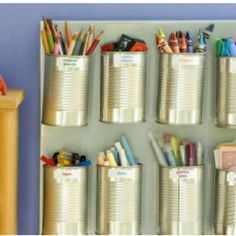 Toy Organization. I'm thinking magnetic strips or magnets attached inside a door and tin cans affixed to them for easy removal and use.