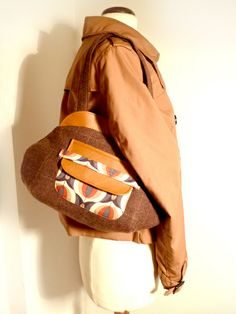 Tweed & leatherette retro shoulder bag with pocket from Do Not Push My Buttons! by DaWanda.com