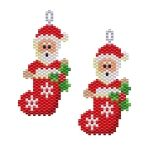 ThreadABead Santa in Stocking Earring