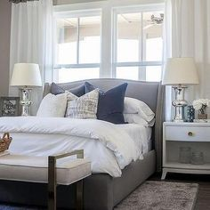Grey Wingback Bed with Silver Nailhead Trim, Transitional, Bedroom