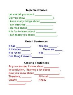 Students can use these sentence started to create a well written informative piece. Students can use this to practice how topic sentences details and closing sentences should start. Teachers can use this as an anchor chart to display for students to refer Expository Writing, Writing Topics, Paragraph Writing, Informational Writing, Writing Lessons, Teaching Writing, Writing Skills, Essay Writing, Informative Writing