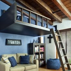 A cool floating bed is perfect for small spaces like studio style appartments and flats!